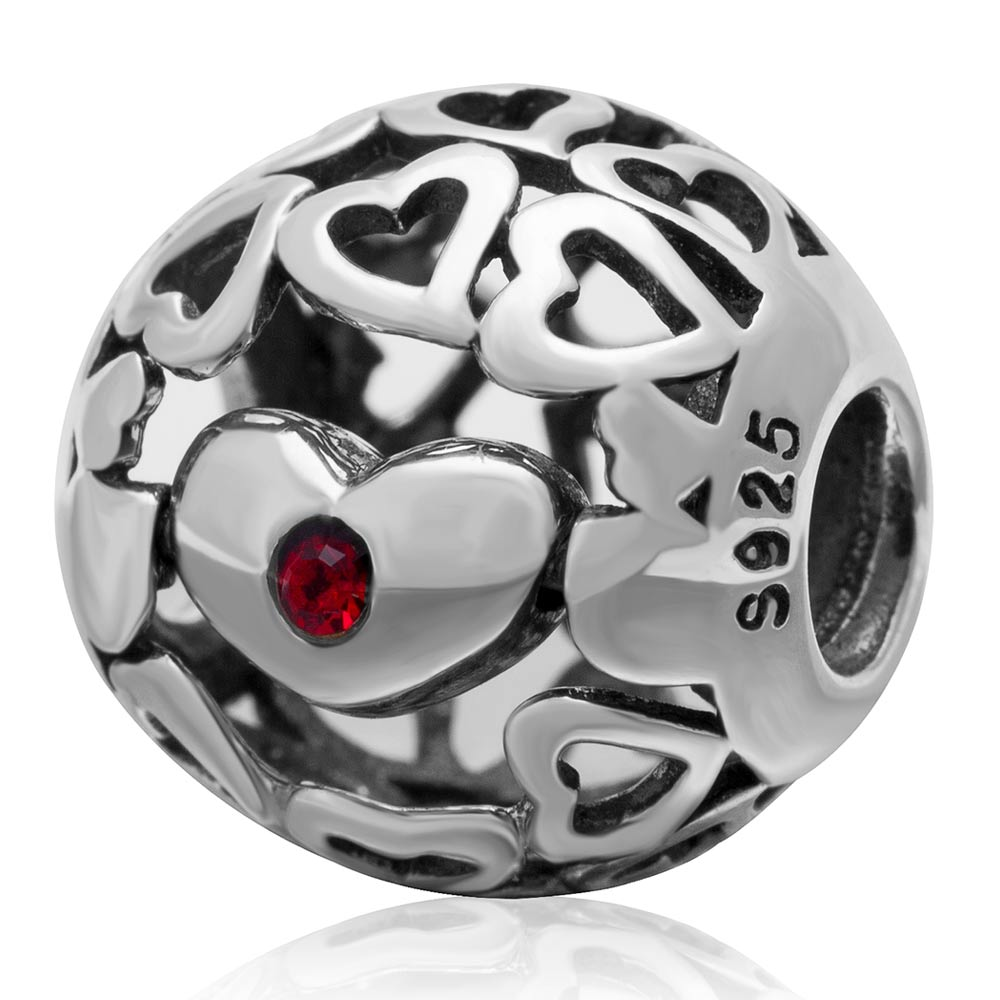 Heart Filigree 925 Silver Bead