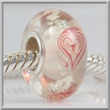 Clear Red Heart Glass Bead