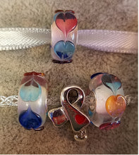 Multicolored 3D Hearts Glass Bead