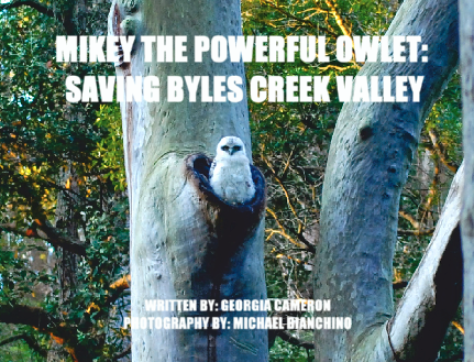 SOLD OUT FIRST BOOK - Mikey the Powerful Owlet: Saving Byles Creek Valley - Book (price includes domestic express postage & handling)