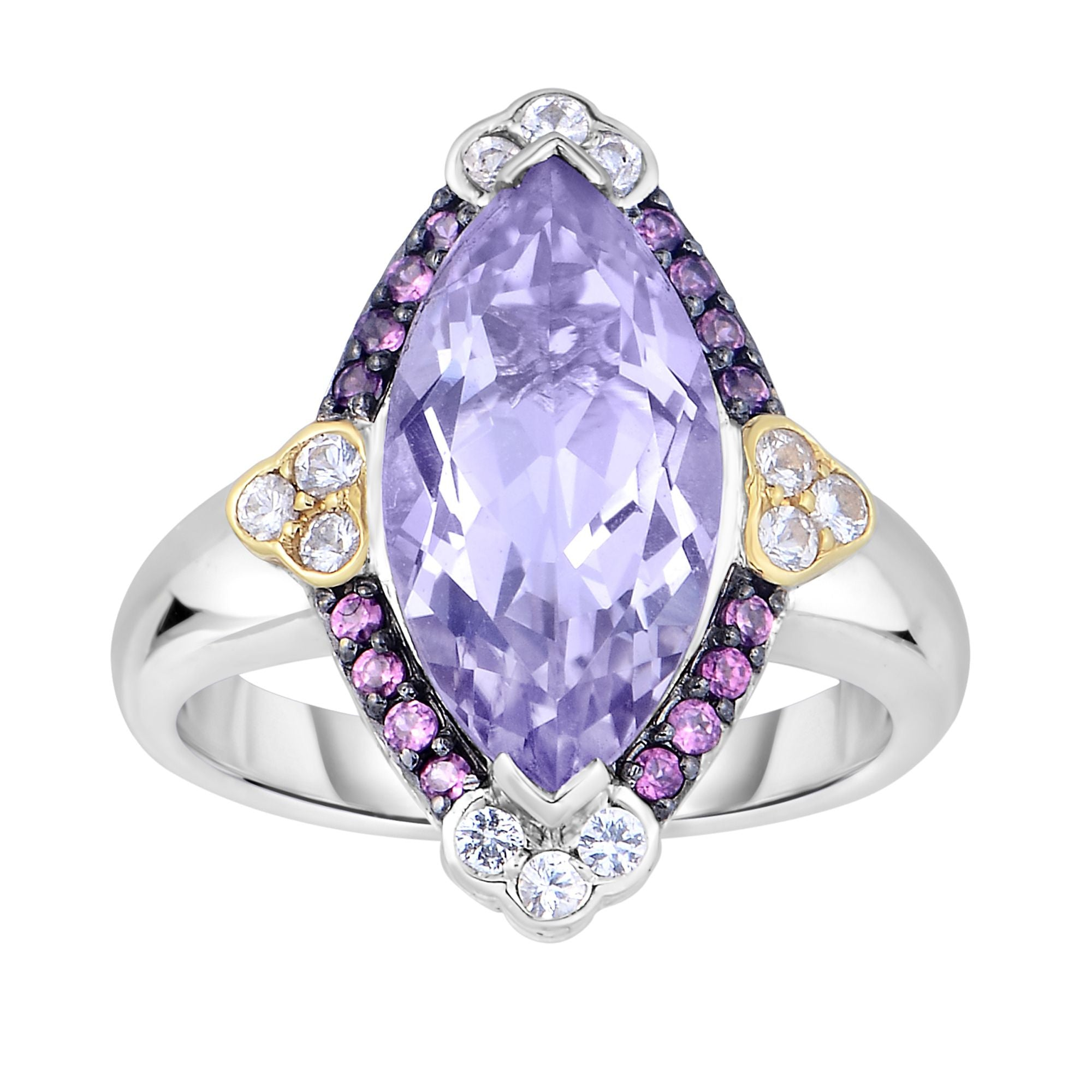 rings promise her anniversary engagement flower for gift amethist pin amethyst vintage cluster multistone ring