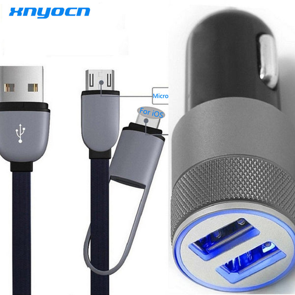 2 Port 3.1A Dual USB Cell Phone Car Chargers + 2in1 3ft 8-pin & Micro USB to USB Cable for Iphone 6 plus 5s 4s Samsung Galaxy