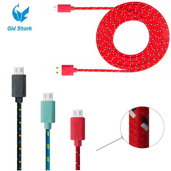 1M 2M 3M Fabric Nylon Braided Micro USB Cable Charging Cord Charger Cable for Samsung Galaxy S3 S4 S6 LG