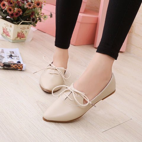 845dce822b65 Stylish Simple Lace Tie Casual Flats