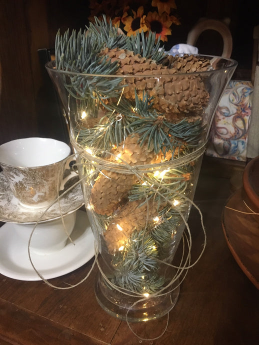 DIY Pine Cone Vase with LED lights