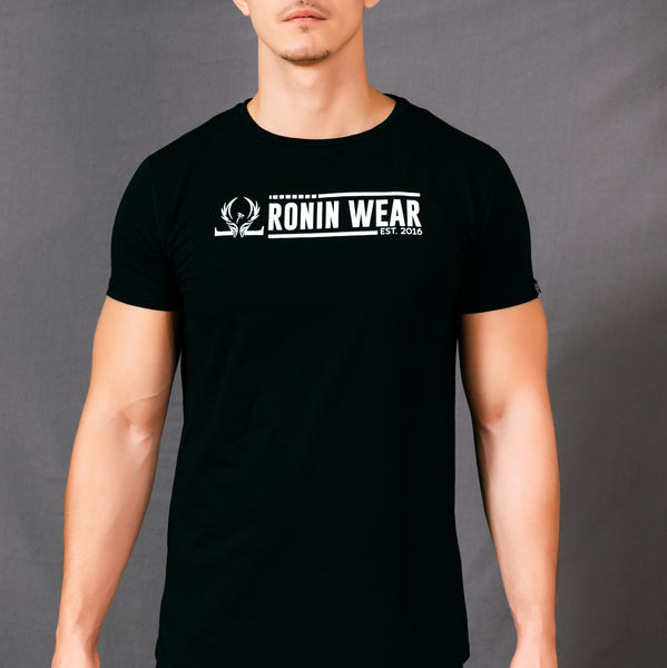 Short Sleeve T-Shirt - White on Black - Oronin Wear Martial Arts Athletic Apparel and Supplies