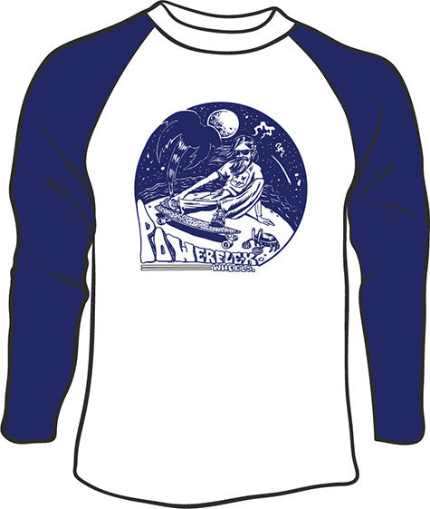 Hippy Mens Raglan T-shirt White/Navy