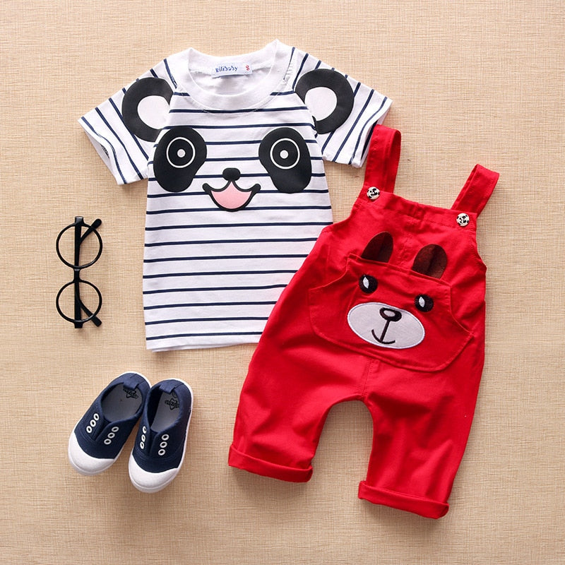 Baby / Toddler Panda Design Striped Tee and Overalls Set