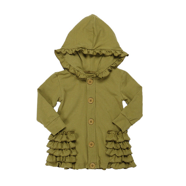 Ruffle Hooded Jacket in Multiple Colors