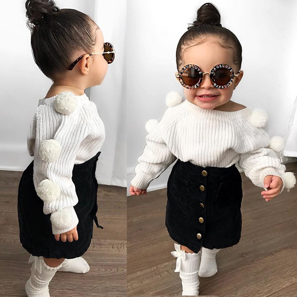 Casey Pom Pom Sweater & Skirt Outfit