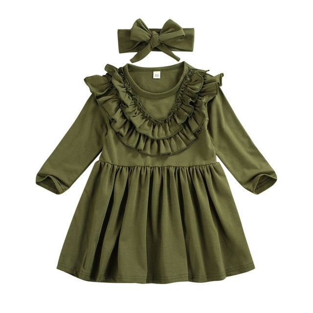 Long Sleeve Ruffle Dress With Matching Headband