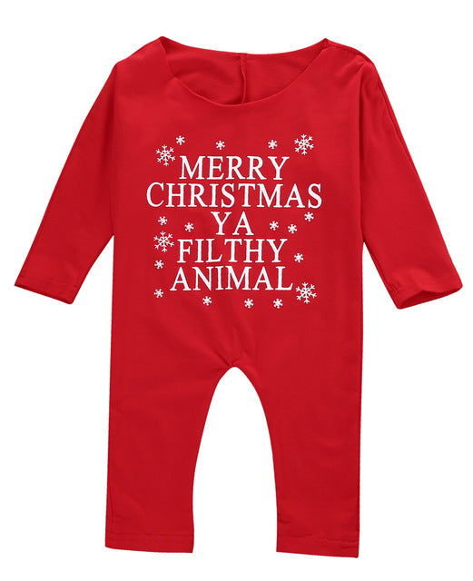 Merry Christmas Ya Filthy Animal Romper