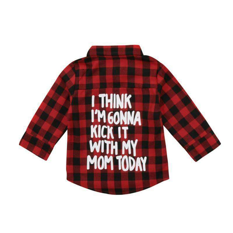 Kick It With Mom Kid's Flannel Shirt