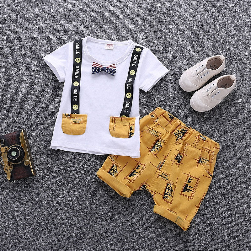 Smile Shirt and Suspender Shorts Set