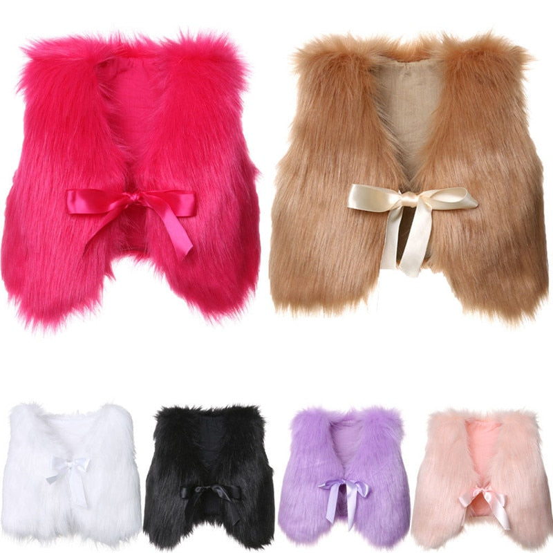 Girls Faux Fur Vest in Multiple Colors