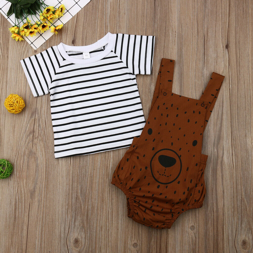 Bear Romper and Striped Tee Set