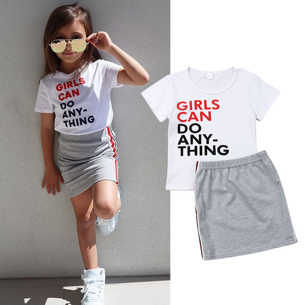 Girls Can Shirt & Skirt Set