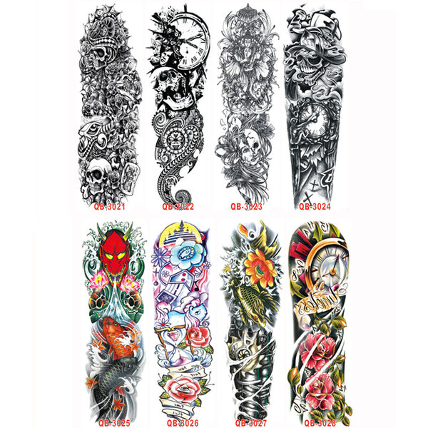 3PC Temporary Tattoo Sleeve Designs Full Arm Waterproof Tattoos For Cool Men Women Transferable Tattoos Stickers On The Body Art
