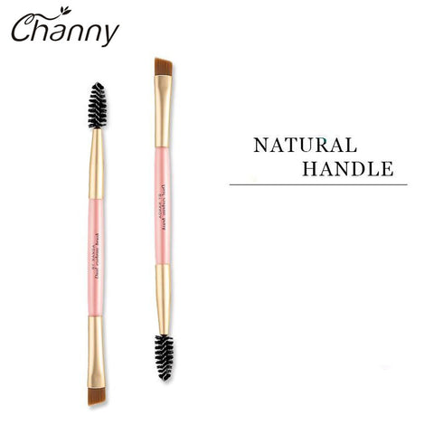 Double Eyebrow Brush + Eyebrow Comb Bamboo Handle Mini Portable Makeup Tools Professional Cosmetic Accessories