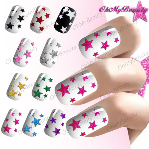 Blingbling 3d Nails Stickers Colorful Glitter Star Self Adhesive Nail Art Designs Transfer Decals