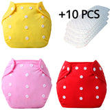 3+10 pcs Baby newborn diapers Reusable nappies Training pant Adjustable size Children Washable diapers inserts 3 Layers