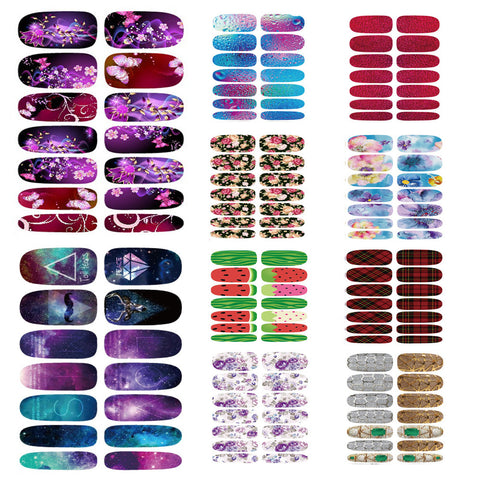 New 10pcs Nail Sticker Lot Style FLOWER Fruits 3D Full Cover Water Transfer Foil Nail Art Stickers Decals Wholesale