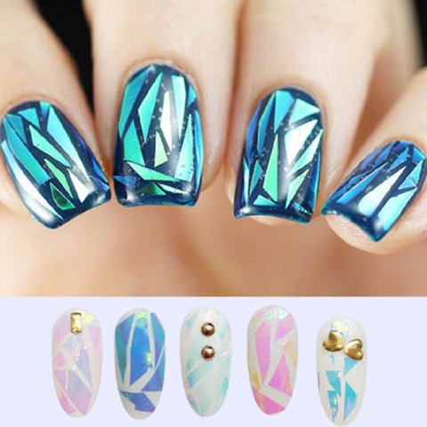 5Pcs/Lot NEW Bling Nail Art Stickers Broken Glass Pieces Mirror Foil Stencil Decals Beauty Decoration Tools DIY