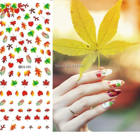 DS090 Nail Design Water Transfer Nails Art Sticker Sexy Colorful Maple Leaf Nail Wraps Sticker Tips Manicura nail supplies Decal