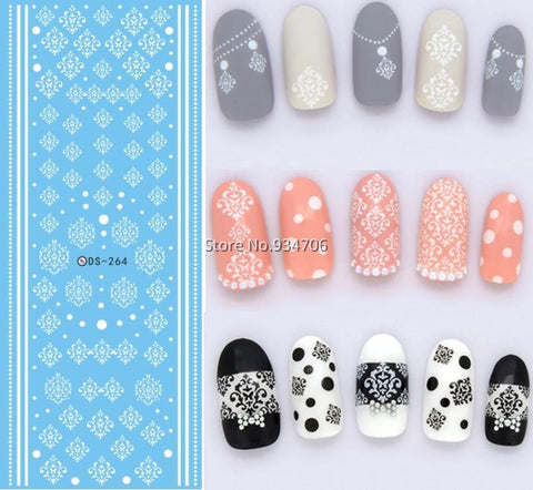DS264 Design Water Transfer Nails Art Sticker Winter Style White Snowflake Nail Wraps Sticker Watermark Fingernails Decals