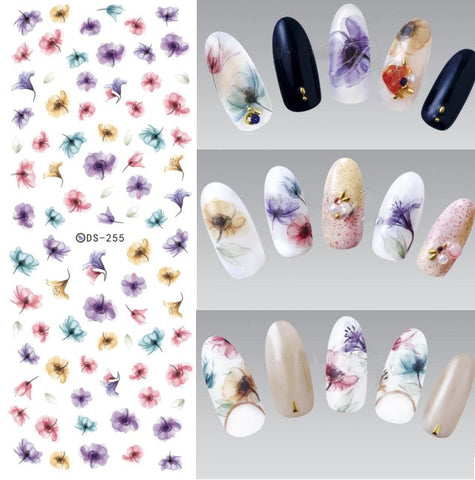 DS255 DIY Designer Water Transfer Nails Art Sticker Colorful Purple Fantacy Flowers Nail Stickers Wraps Foil Sticker manicure