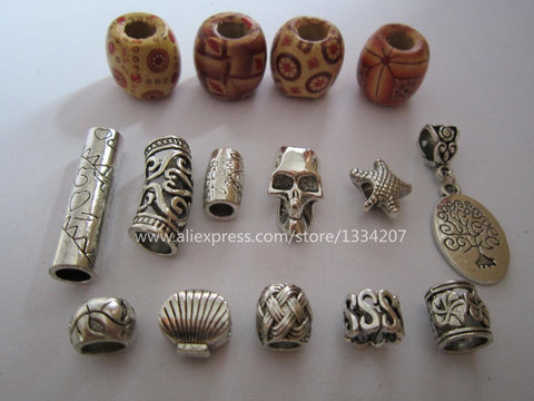 Free shipping 15Pcs/Lot mix wooden metal hair braid dread dreadlock beads clips cuff