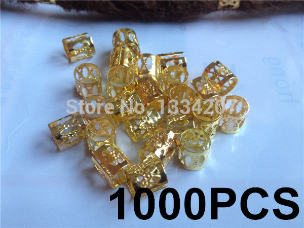 Free Shipping wholesale 1000Pcs/Lot Golden Plated  Dreadlock Bead  adjustable cuff clip 8mm hole clip