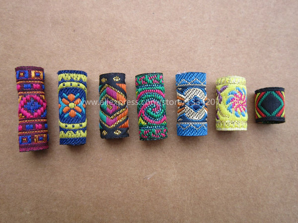 Free shipping 7Pcs/Lot mix fabric set for hair braid dread dreadlock beads clips cuff approx 8-12mm hole NO.05