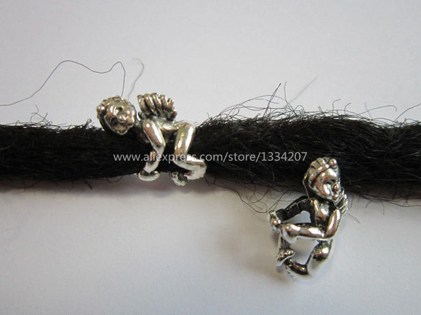 Free shipping 10Pcs/Lot Tibetan silver hair braid dread dreadlock beads clips cuffs approx 5.5mm hole