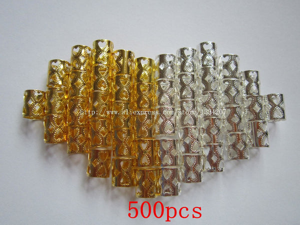 NEW STYLE!! 500Pcs/Lot mix Silver Golden Plated  hair dread Dreadlock Bead adjustable cuff clip 7.5mm hole