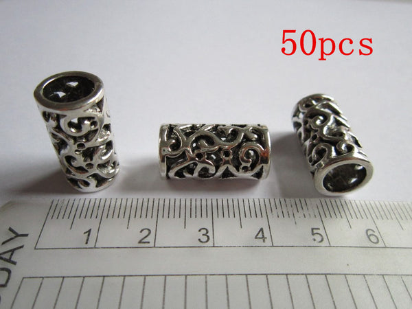 50Pcs/Lot  Antique silver  hair braid dread dreadlock beads cuffs approx 8mm hole