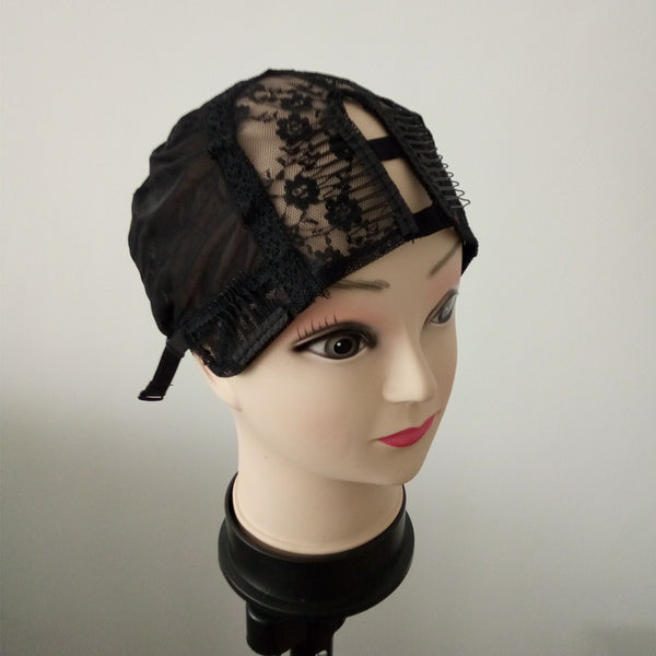 U parting wig cap for making wigs with adjustable strap and all elastic lace at back