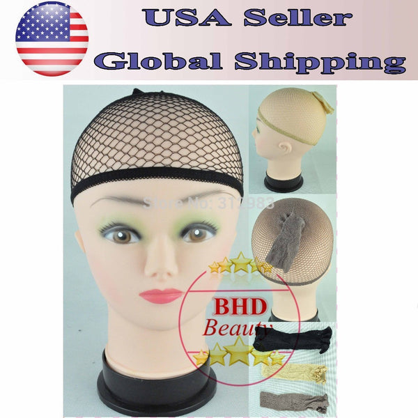 Free Fast shipping 2pcs Open Breathable Stocking Wig Stretch Caps Liner Mesh for Wig Toupee