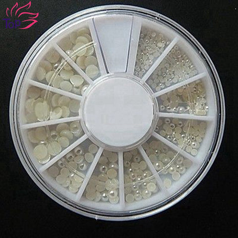 4 Sizes Half-Roudn White Pearl Nail Art Tips Studs Glitter Wheel 3D Nails DIY Rhinestones Decorations ZP054