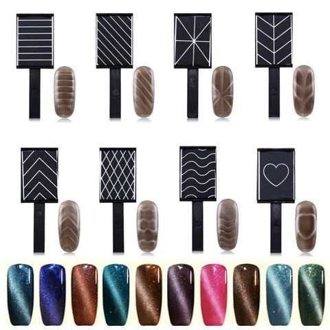 Cat's Eye Magnet Polish Magnet for Nail Gel Cat's Eye Varnish Magic Board Nail Tools for UV Cat Eyes 9 Pattern Option ZJ1346