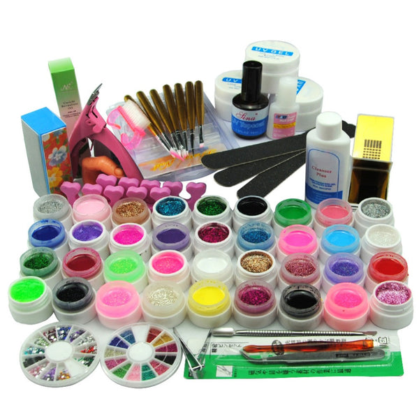 36 Colors UV Gel Nail Polish Set Nail Art Tools Brushes Glitter Gel Varnish Manicure Sets& Kits Without Nail Lamp
