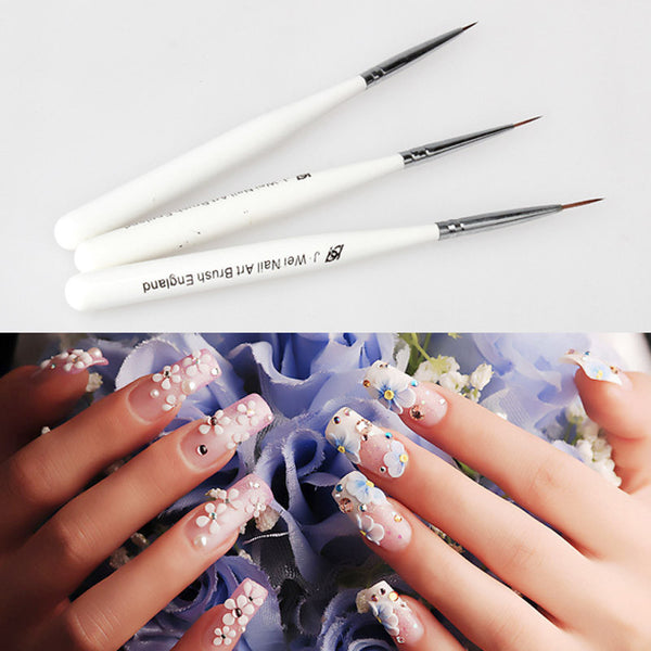 3pcs Line Scanning Nail Pens Drawing Painting Brush Tool Set Acrylic Nail Art Design Brush Free Shipping