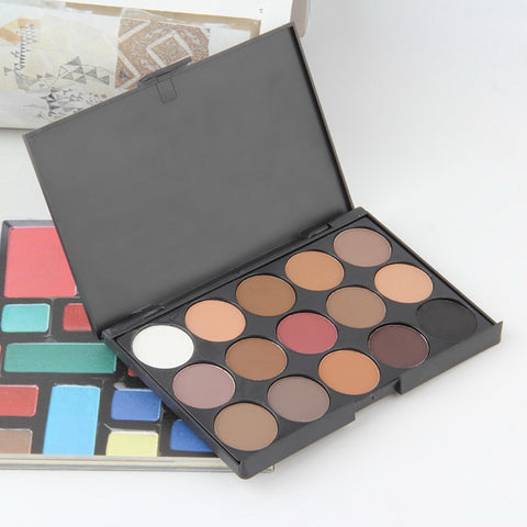 Professional 15 Colors Warm Nude Matte Shimmer Eyeshadow Palette Cosmetic