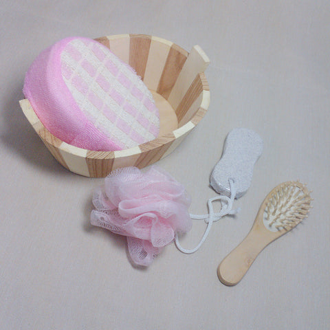 5pcs Soft Exfoliating Back Spa Scrubber Bath Ball + Massage Comb + Shower Sponge + Wood Box + Pumice Stone Set  88