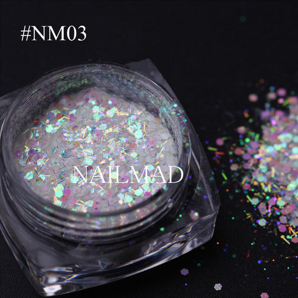 3ml/box Nail Glitter Mix Hexagon Glitters Mixed Holographic Powder Dust Fairy Dust Nail Sequins Christmas Glitter Mixes