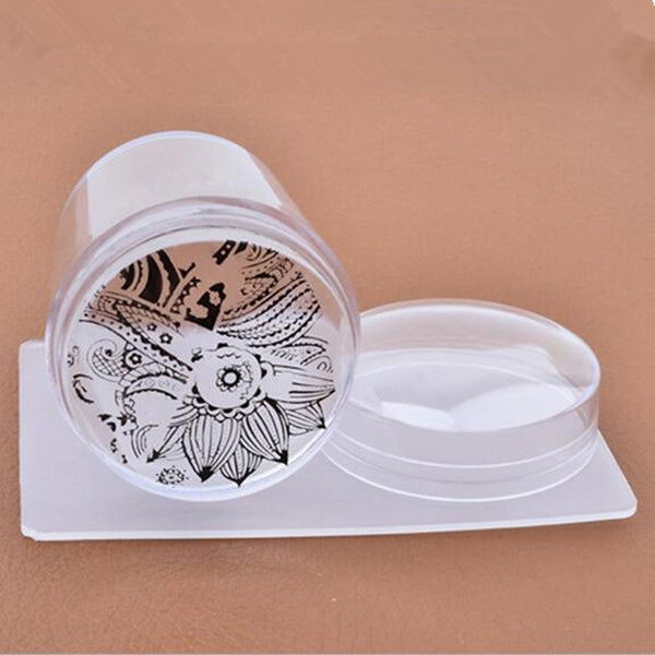 3.8 CM Big Head Jelly Silicone Stamper Transparent Stamp Scraper Transfer Stamping Plate Cap Templates Tools Nail Art Manicure