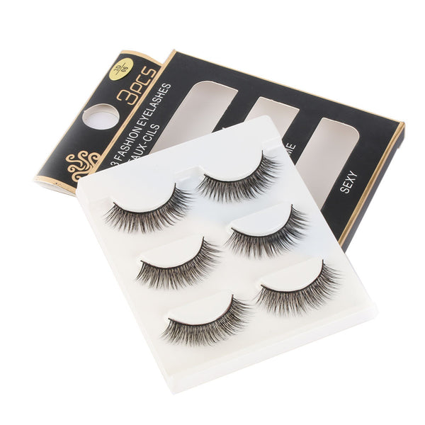 3 pairs /set 3D Thick False Eye Lashes Extension Makeup Super Natural Long Fake Eyelashes