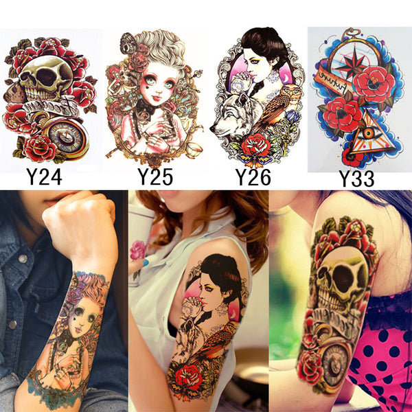 4Pcs 3D Makeup Tattoos Stickers Cool Stuff On The Arm Leg Waterproof Temporary Fake Tattoos Body Art Sexy Henna Tattoo Paste