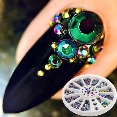 1 Box 230Pcs Newly Round Nail Rhinestones Flat Back Acrylic UV Gel Decor Manicure Nail Art Decoration In Wheel