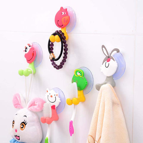 5Pcs Baby Care Grooming & Healthcare Kits Cute Cartoon Sucker Suction Hooks Set Hanging Baby Toothbrush Holder Towels Etc